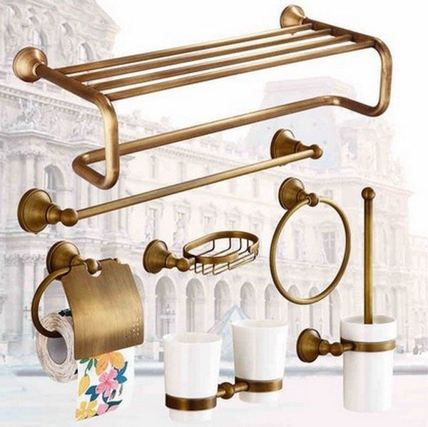 Antique Brass Bathroom Hardware Bathroom Accessory Set Towel Bar