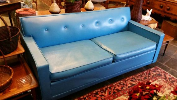 Hold 1960 S Bright Blue Castro Convertible Sleeper Sofa