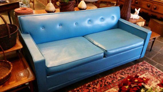 Hold 1960 S Bright Blue Castro Convertible Sleeper Sofa