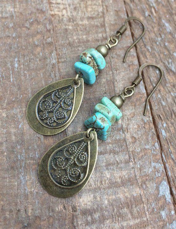 Boho Earrings Dangle, Boho Dangle Drop Earrings, Boho Brass Drop Earrings, Dangle Boho Earrings, Turquoise Earrings Dangle is part of Turquoise earrings dangle, Boho earrings, Turquoise earrings, Beaded jewelry, Beaded earrings, Boho jewelry - rusticajewelry