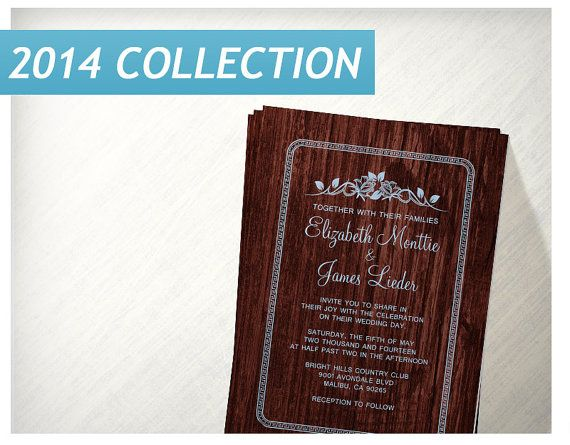 Blue Red Vintage Barn Wood Wedding Invitations