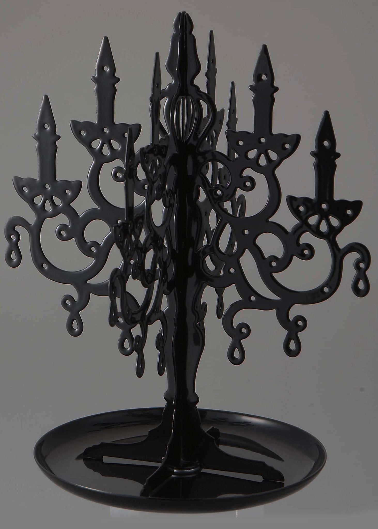 This unique Chandelier jewelry stand is hand made with solid black