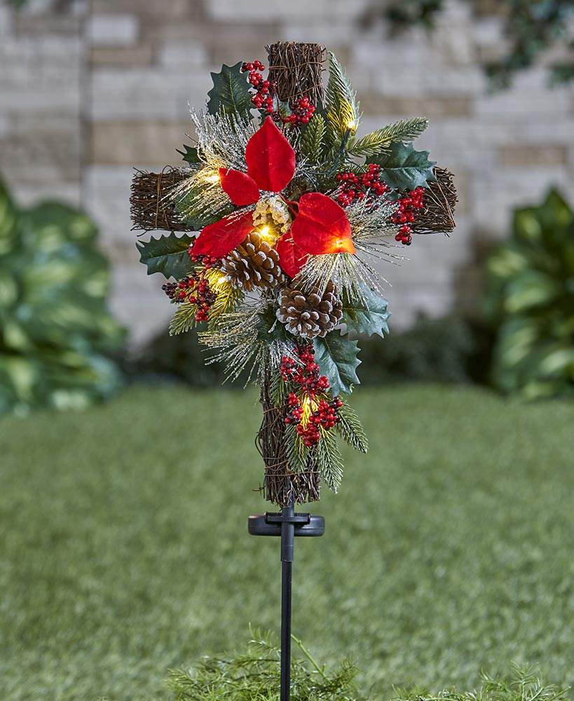 Solar Lighted Christmas Cross Stake Cemetery decorations