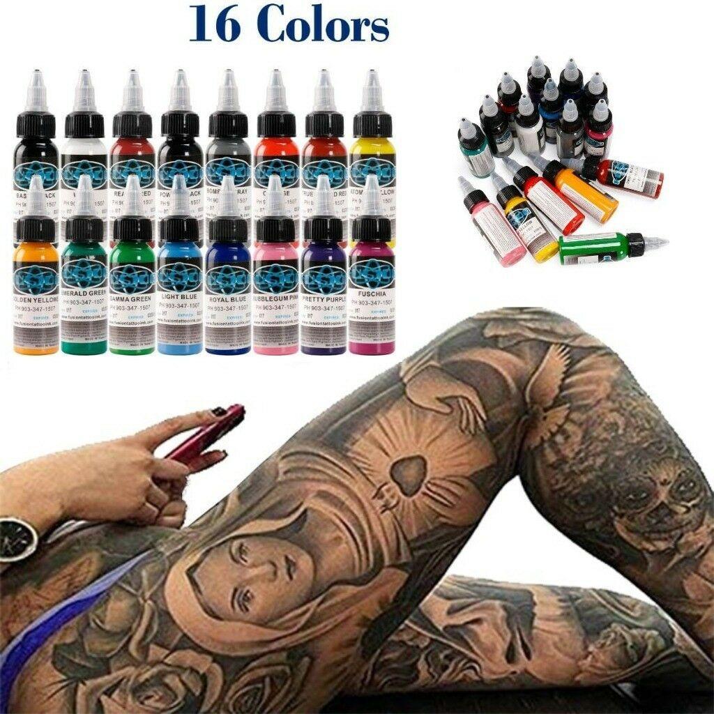 Best Tattoo Ink Set 16 Colors 1 Oz 30ml Bottle Pigment Kit 3d Makeup Beauty Gift Ebay Tattoo Ink Sets Ink Tattoo Makeup Pigments