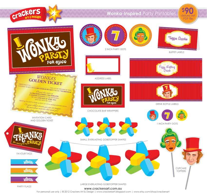 willy wonka printables | Behold...the full range of Wonka party printables now available in my ...