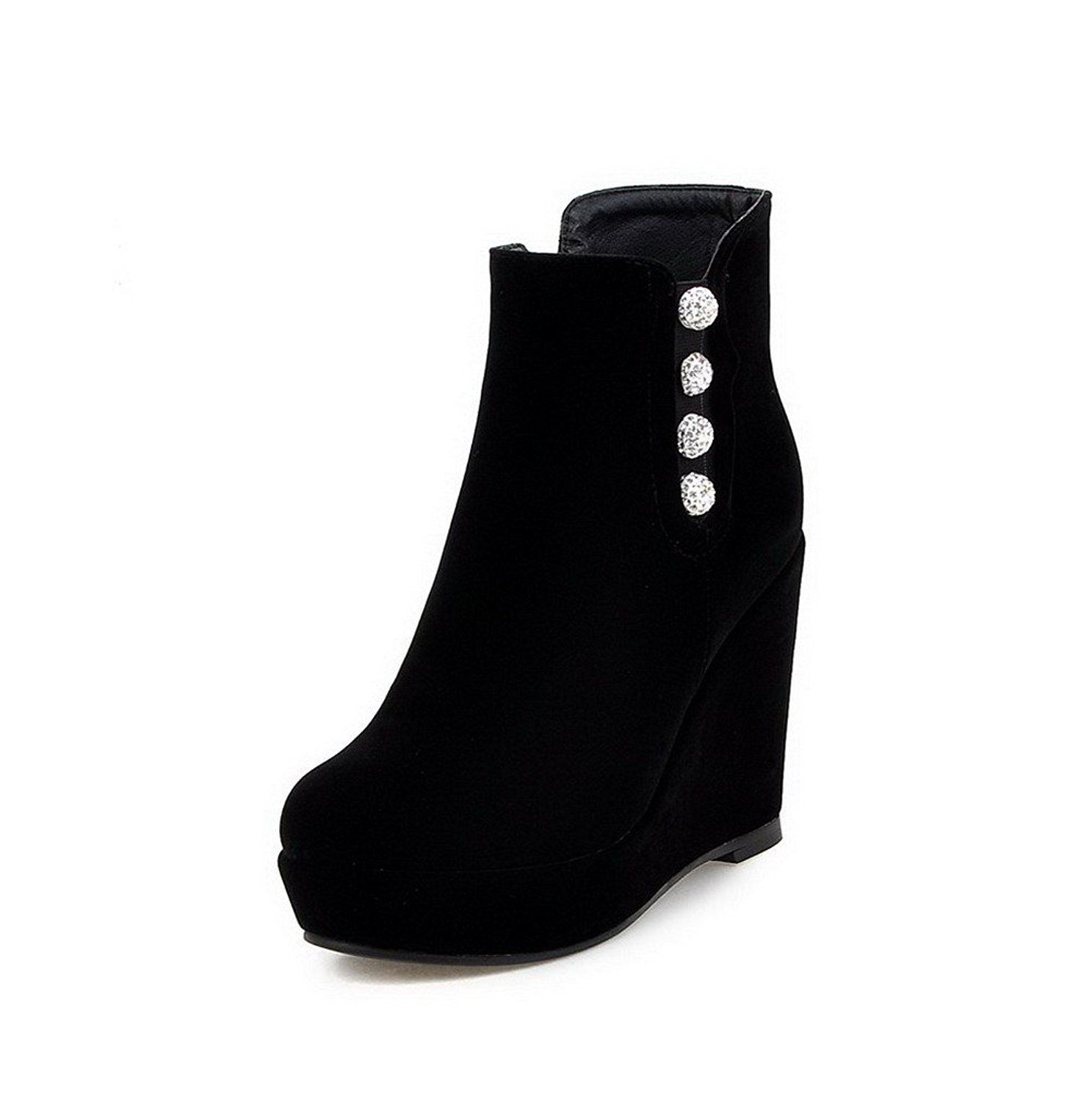 Women's Frosted Zipper Round Closed Toe High-Heels Low-top Boots