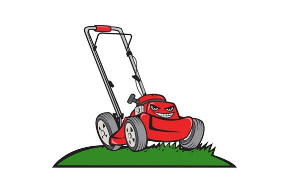 Lawnmower Front Isolated Cartoon Lawn Mower Lawn Care Logo Retro Illustration
