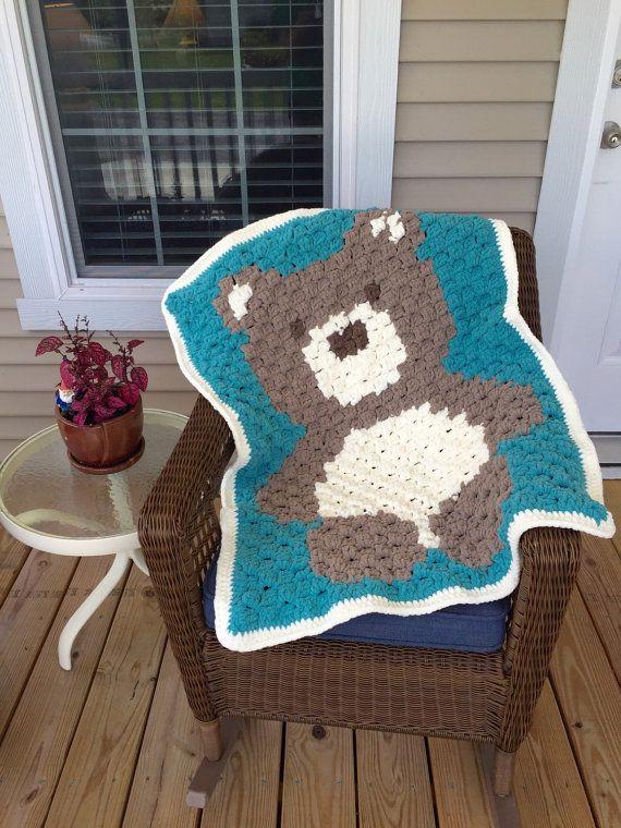 Teddy Bär Baby Decke Häkeln Petrol Klobige Bear Von Penguinyarns