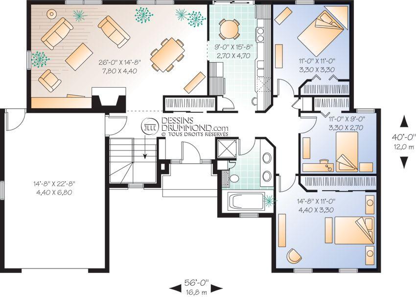 Plan de maison plain pied laprise for Plan maison duplex 4 chambres