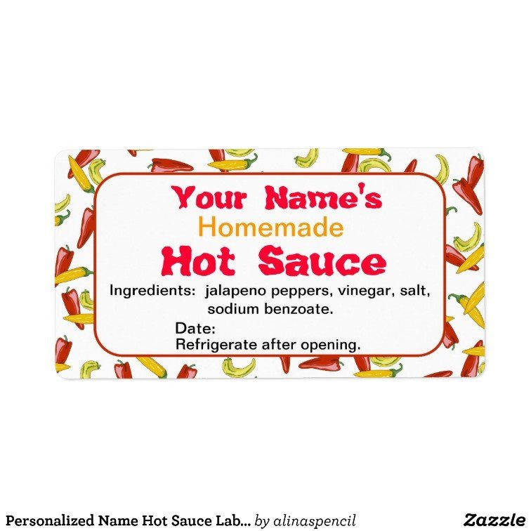 Hot Sauce Label Template Unique Personalized Name Hot Sauce Labels Chili Peppers Label Templates Recipe Cards Template Recipe Index Card Template