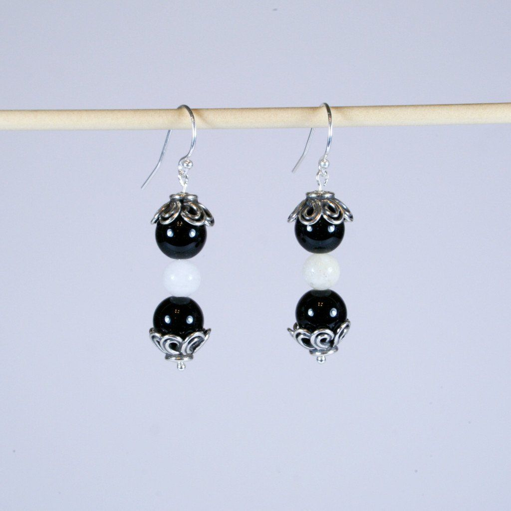 581d60b92 Black Agate & White Quartz Beaded Gemstone Earrings with Antique 925 Sterling  Silver Floral Bead End
