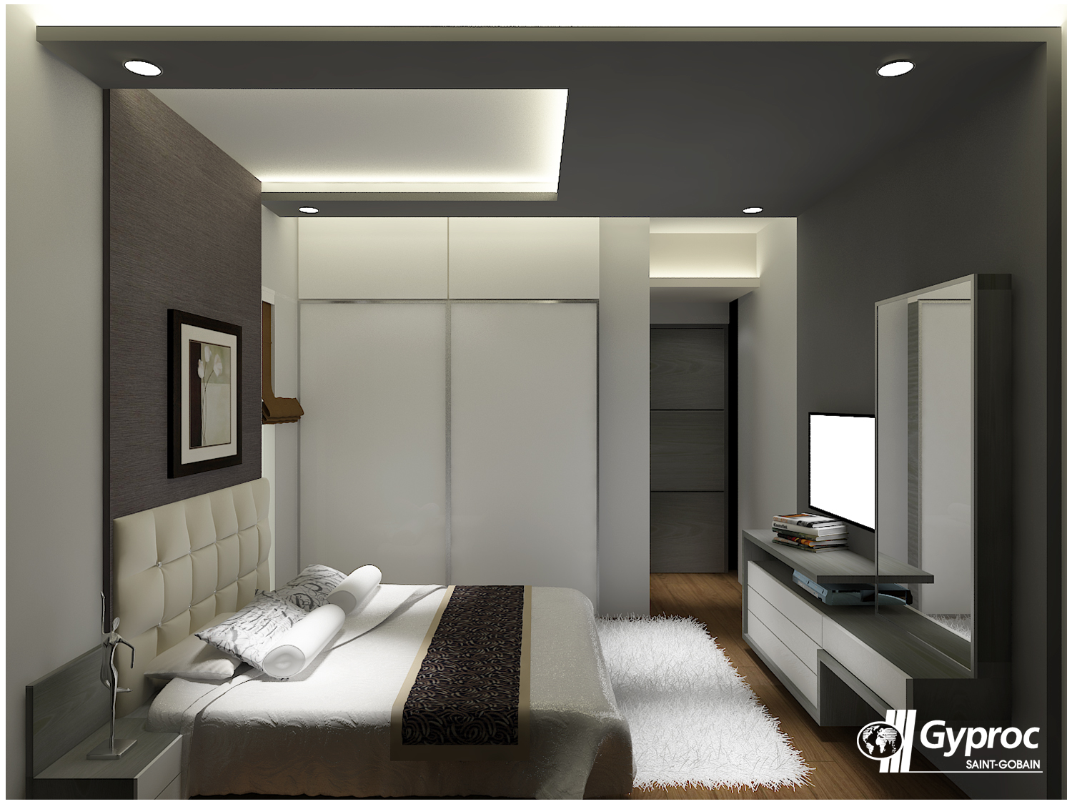 Master bedroom false ceiling  Let the shades of gray make your luxurious bedroom stand out To