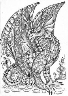 Zentangle Dragons Google Zoeken Zentangle Adult Coloring