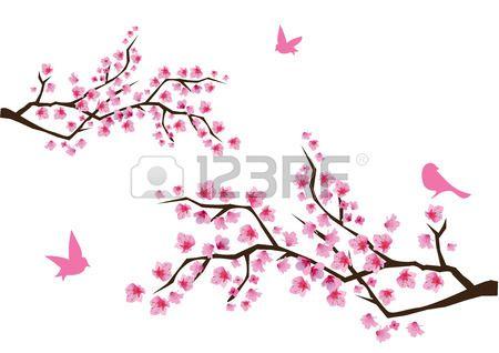 Branches Cerisiers En Fleurs Avec Des Oiseaux Fleur De Cerisier Fleur De Cerisier Dessin Sakura