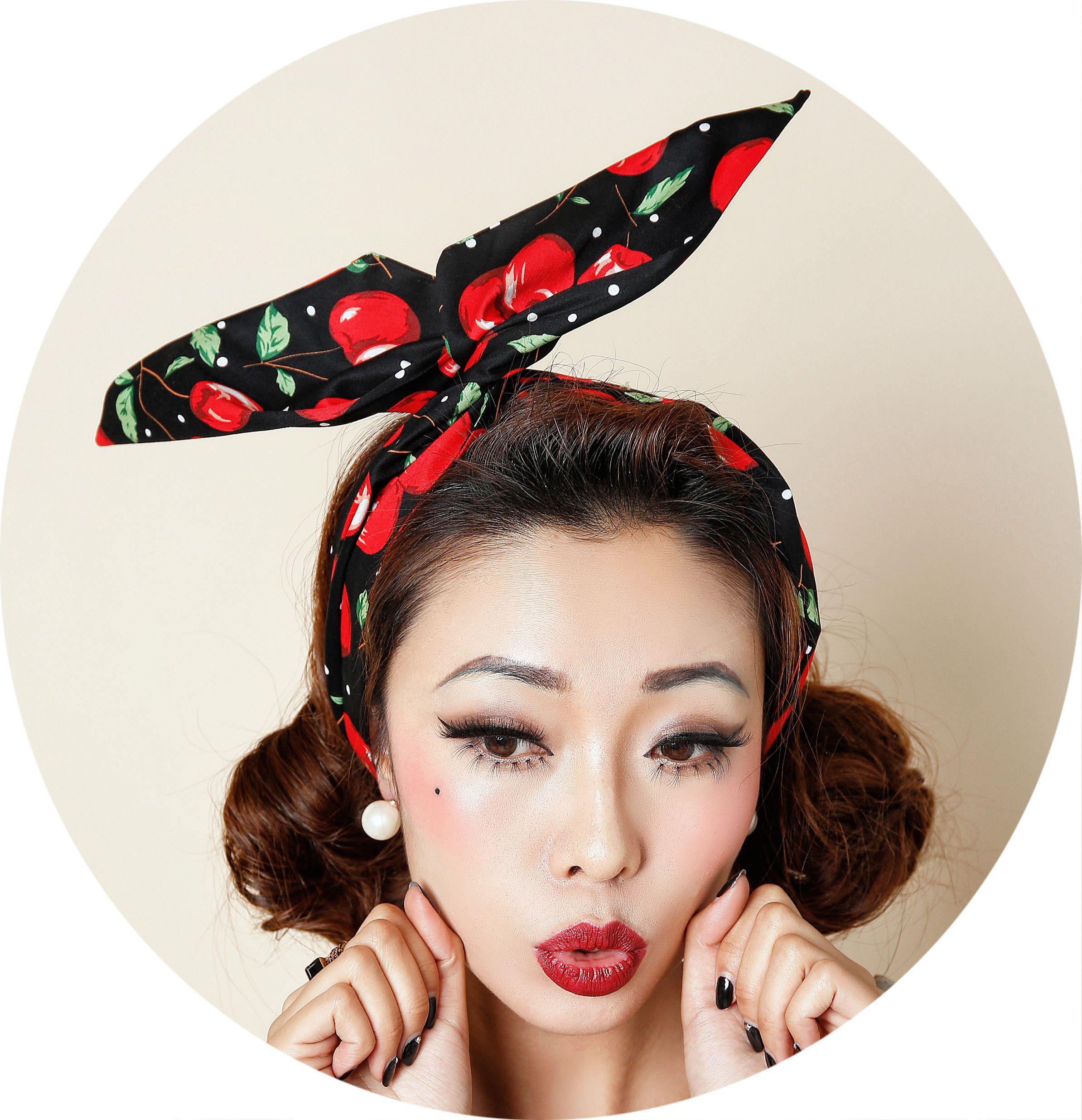 headband bandana head scarf dolly bow hair wrap black polka dots pin-up girl