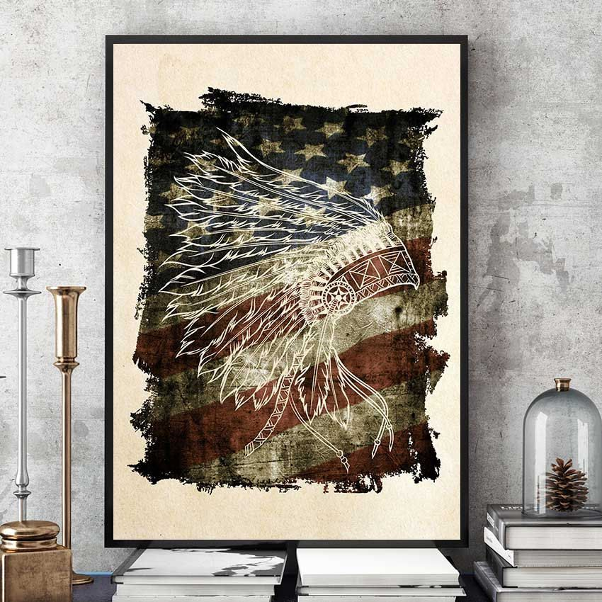 Indian Headdress On Us Flag Print Native American Spirit Wall Art Tribal Wall Decor Native Wall Art Modern Home Decor American Indian Decor Native American Decor American Office Decor