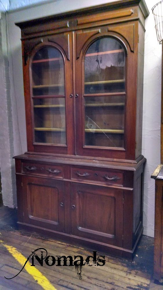 Glass Showcase Designs For Living Room: Antique Display China Cabinet Book Case Early Large