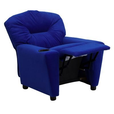 Best Contemporary Blue Microfiber Kids Recliner With Cup Holder 400 x 300