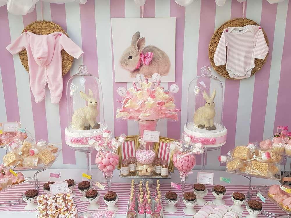 Girls Birthday Party Neutral Baby Shower Birthday Bunny Rabbit Party Balloons