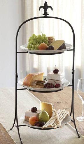 3 tier stand three tier fleur de lis finial buffet server crafty buffet server tiered. Black Bedroom Furniture Sets. Home Design Ideas