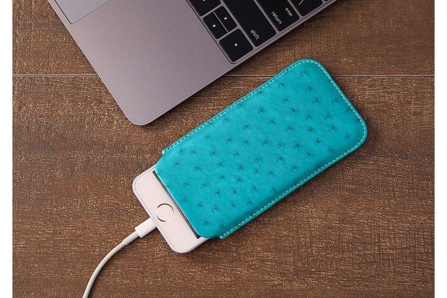 Etui Languette iPhone SE - Turquoise - Autruche Véritable