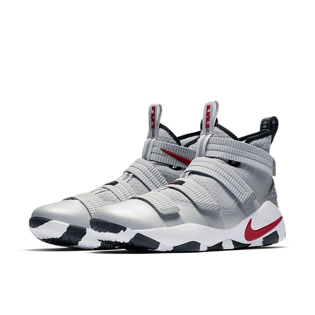 f9871ab201f8 Nike LeBron Soldier 11 SFG Silver Bullet   897646-007   Men White Red  Metallic