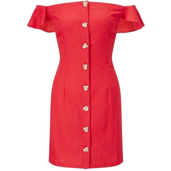 6f179d634 Miss Selfridge Red Buttoned Bardot Dress ($38) ❤ liked on Polyvore  featuring dresses, red, red linen dress, linen dress, miss selfridge dresses,  ...