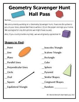 Geometry Scavenger Hunt by Tech Teacher KD | Teachers Pay Teachers