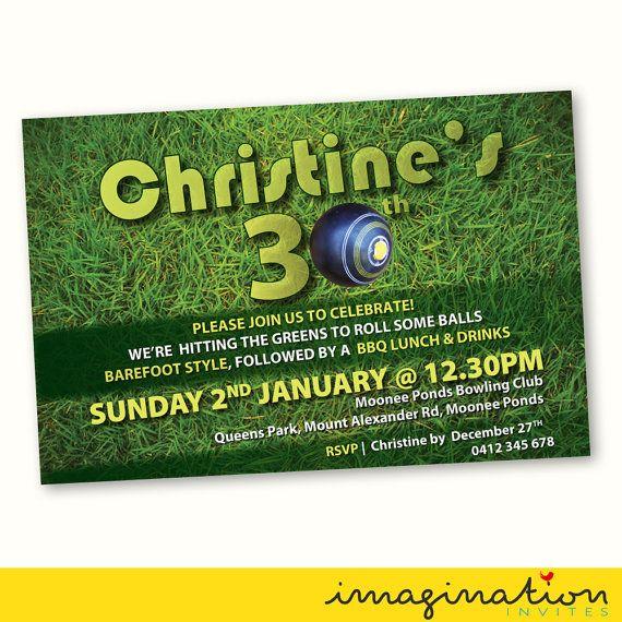 Lawn Bowls Invitation Birthday Party Invite 21st 30th 40th 50th 60th