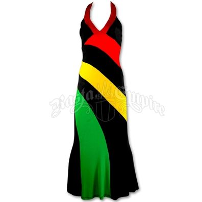 Rasta and Reggae long halter dress. Catch a Fire Clothing.