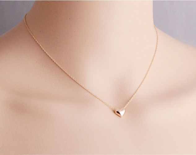 New Women Girls 18k Rose Gold Plated Simply Cute Heart Necklace Fashion Gift Fashion Necklace Gold Jewelry Fashion Diamond Cross Necklaces