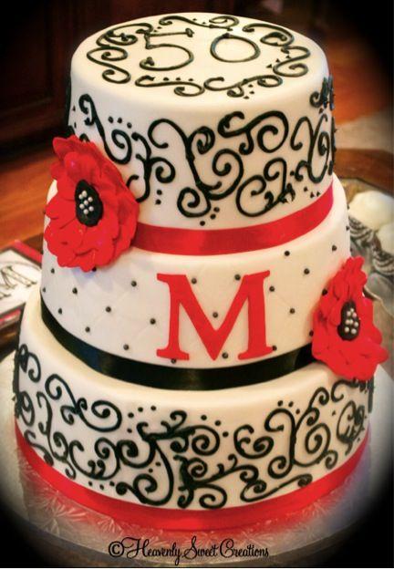 Strange 50Th Birthday Cake Red Black And White Cake Birthday Cake Birthday Cards Printable Giouspongecafe Filternl