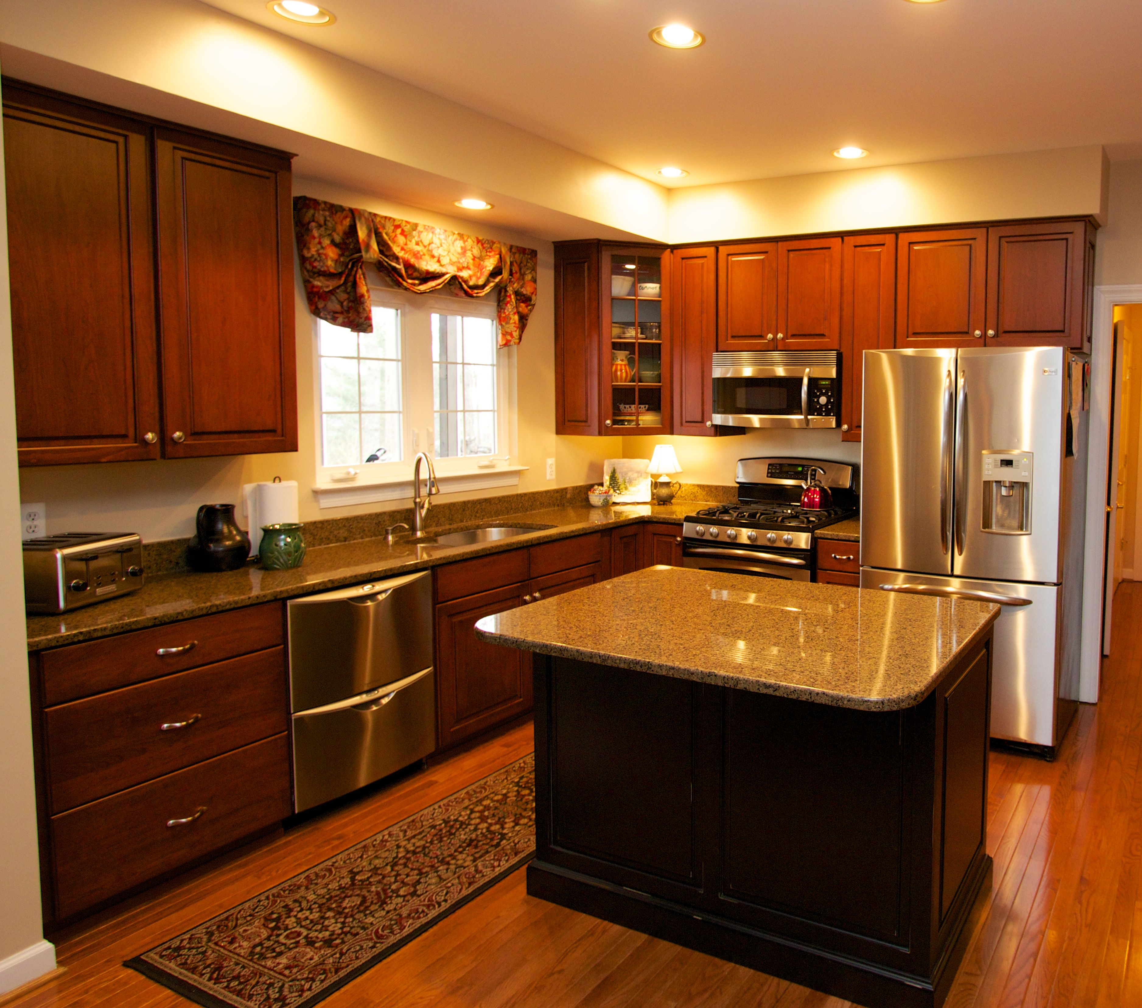 Antiqued Black Island With Cherry Kitchen Cabinets ~ Transformed By Kitchen  Saver #kitchensaved