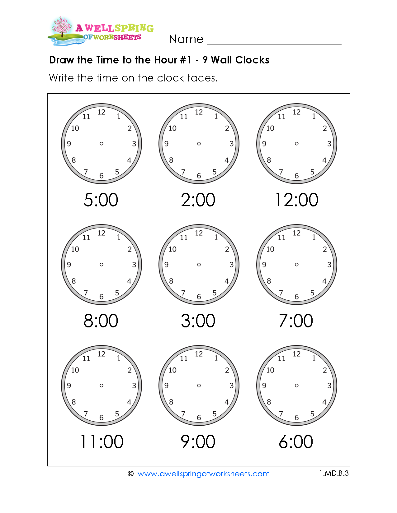 Draw the Time to the Hour Worksheets for first grade Kids draw – Time to the Hour Worksheet