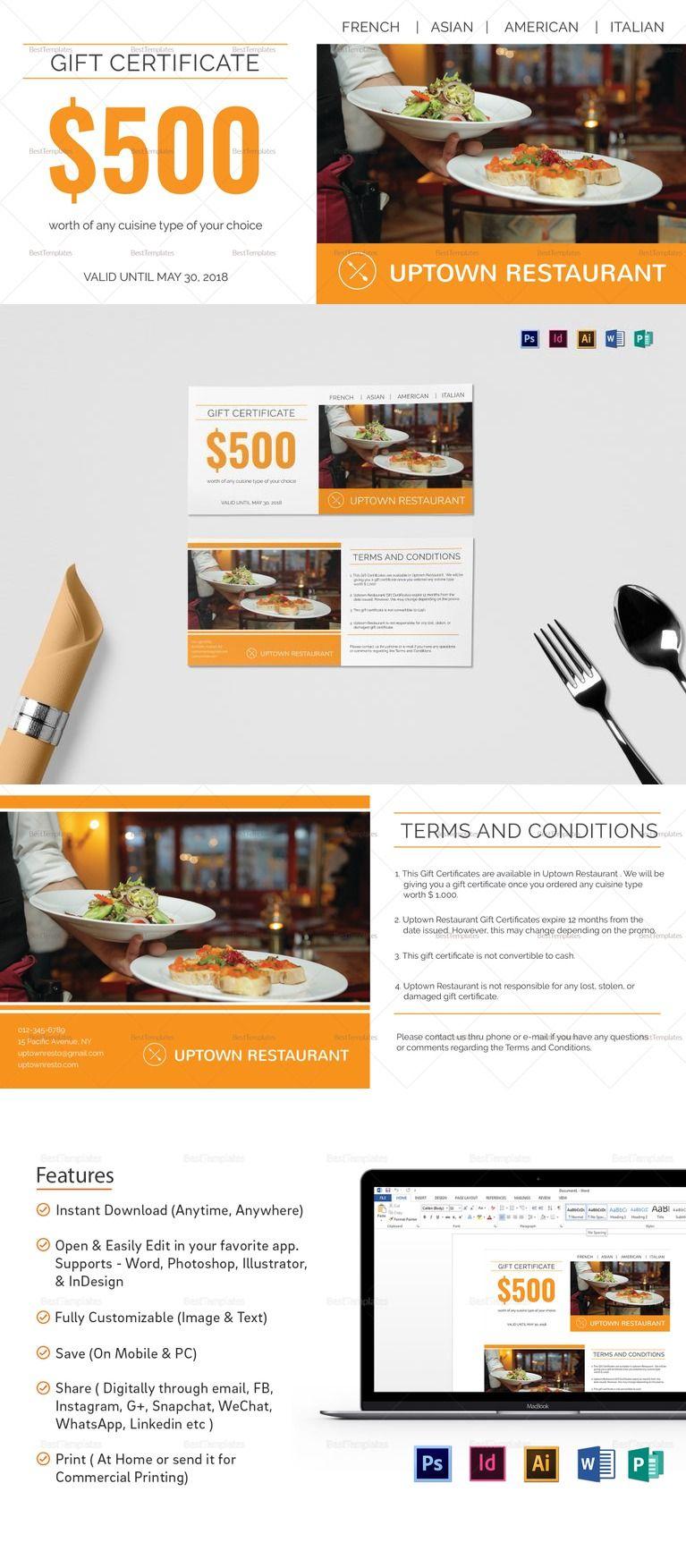 Restaurant Gift Certificate Template Restaurant Templates