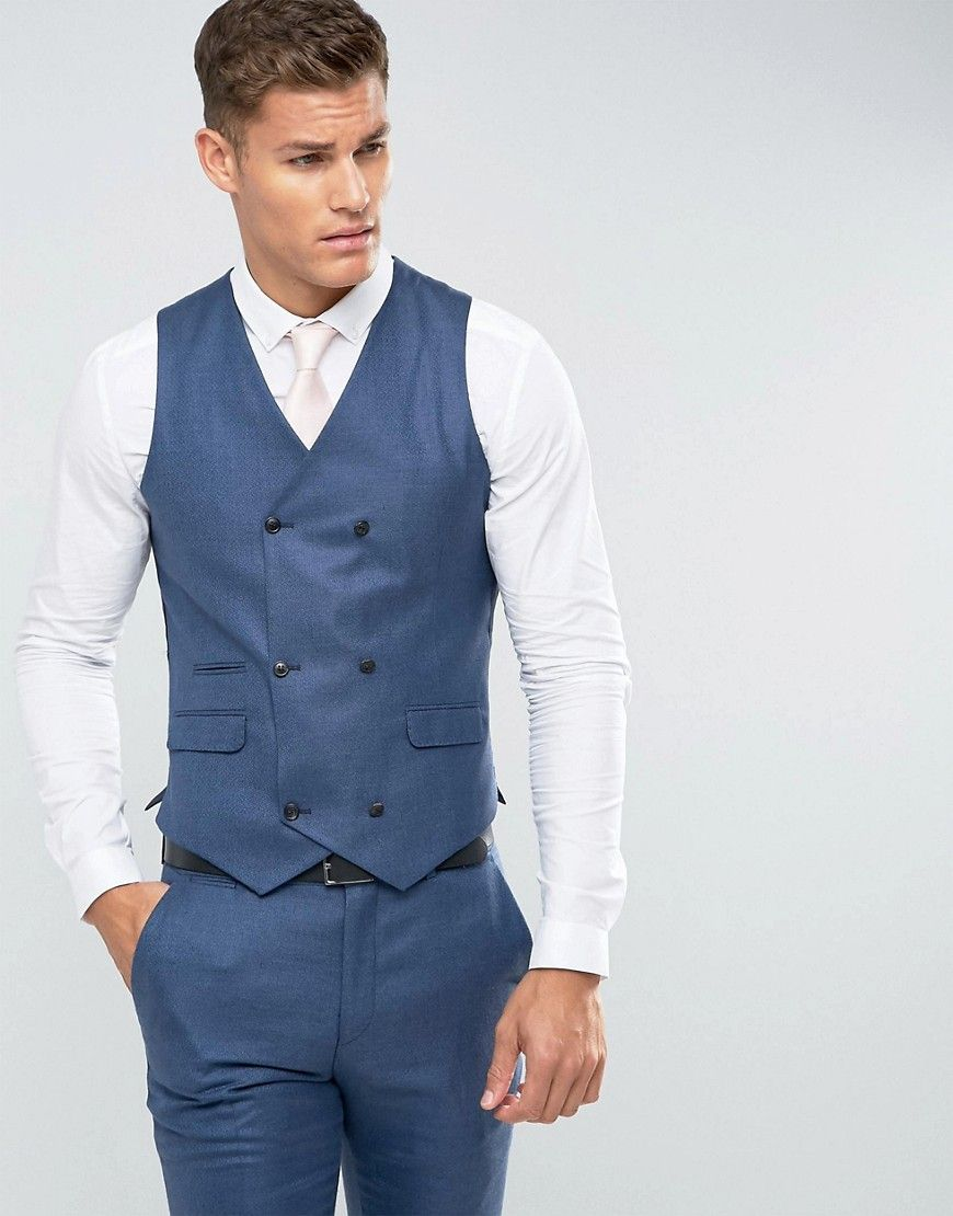 ASOS Wedding Slim Suit Vest In Navy Silk Linen Mix - Navy | Products