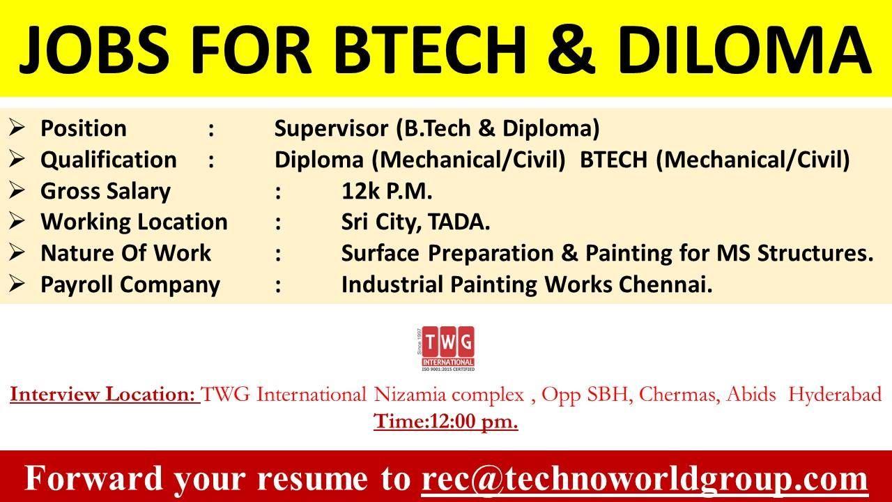Jobs for btech diloma position supervisor btech