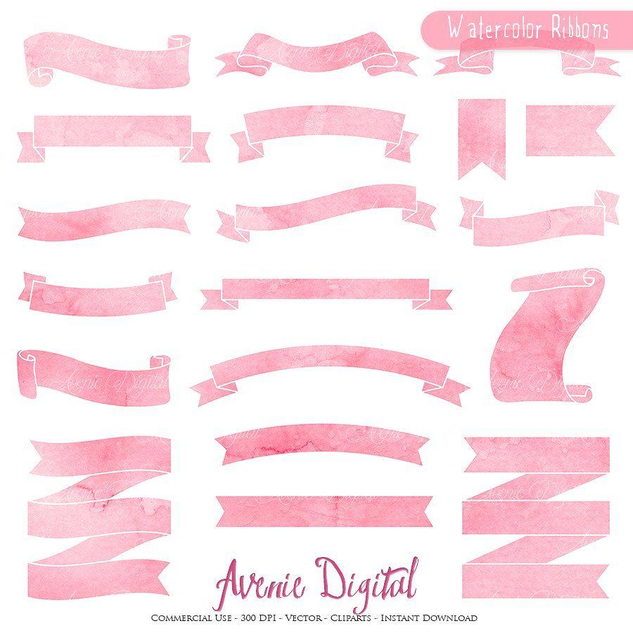 Watercolor Ribbons banner cliparts Tag Digital Clip Art Label frame Clipart Printable hand drawn png