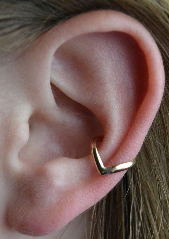 Riempito di Chevron Ear Cuff  in argento o in oro 14k