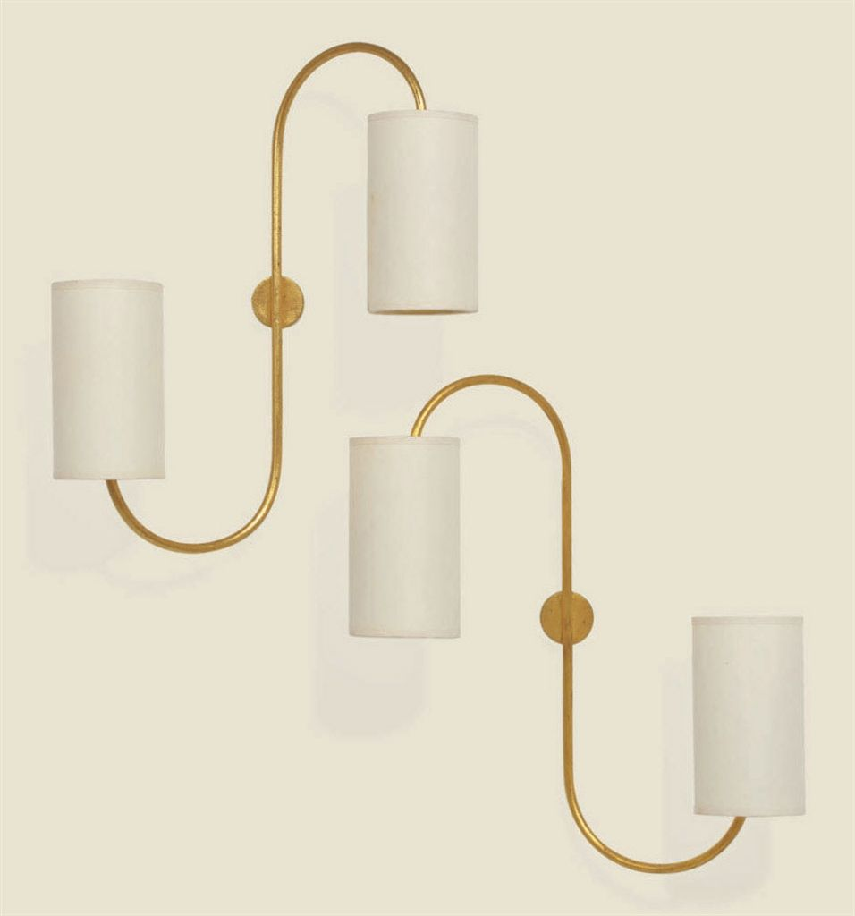 Jean Royere 1902 1981 A Pair Of Two Arm Gilt Metal Sconces 1950s Each 19 In 48 3 Cm High 15 In 38 Cm W Deco Design Deco Luminaire Lampadaire Design