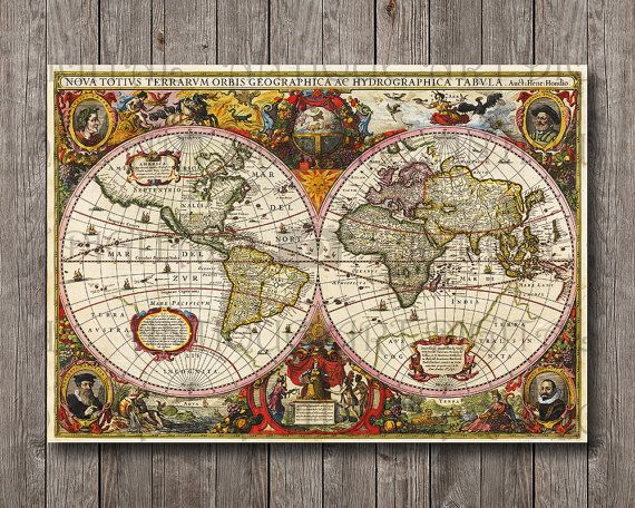 Vintage giant latin world map from 1630 antique maps digital file vintage giant latin world map from 1630 antique maps digital file print instant download for gumiabroncs Gallery