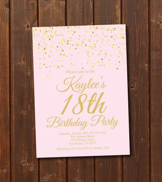 18th Birthday Invitation Printable Gold Pink Birthday Invitation E