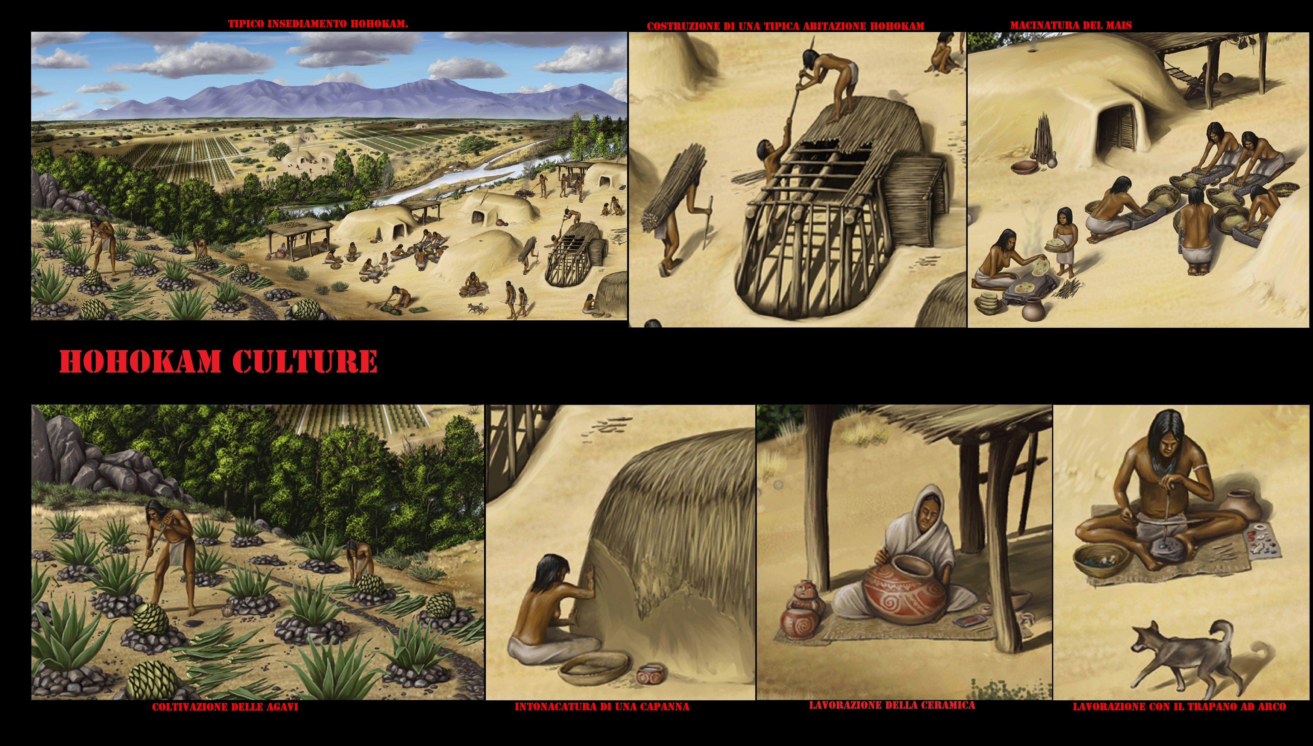 Hohokam è una delle tradizioni archeologiche preistoriche del Sudovest degli Stati Uniti. fra il VII ed il XIV sec. costruirono un'estesa rete di canali per irrigazione lungo il Salt River ed il Gila River. Coltivavano cotone, tabacco, mais, fagioli, zucche e agavi, nonché raccoglievano un vasto assortimento di piante selvatiche. Tutto questo fornì la base per la nascita di centri urbani stabili in un ambiente desertico tutt'altro che ospitale.