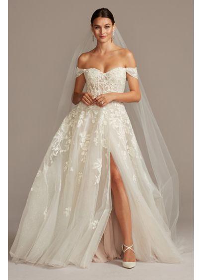 Floral Tall Wedding Dress With Removable Sleeves David S Bridal Petite Wedding Dress Davids Bridal Wedding Dresses Ball Gowns Wedding