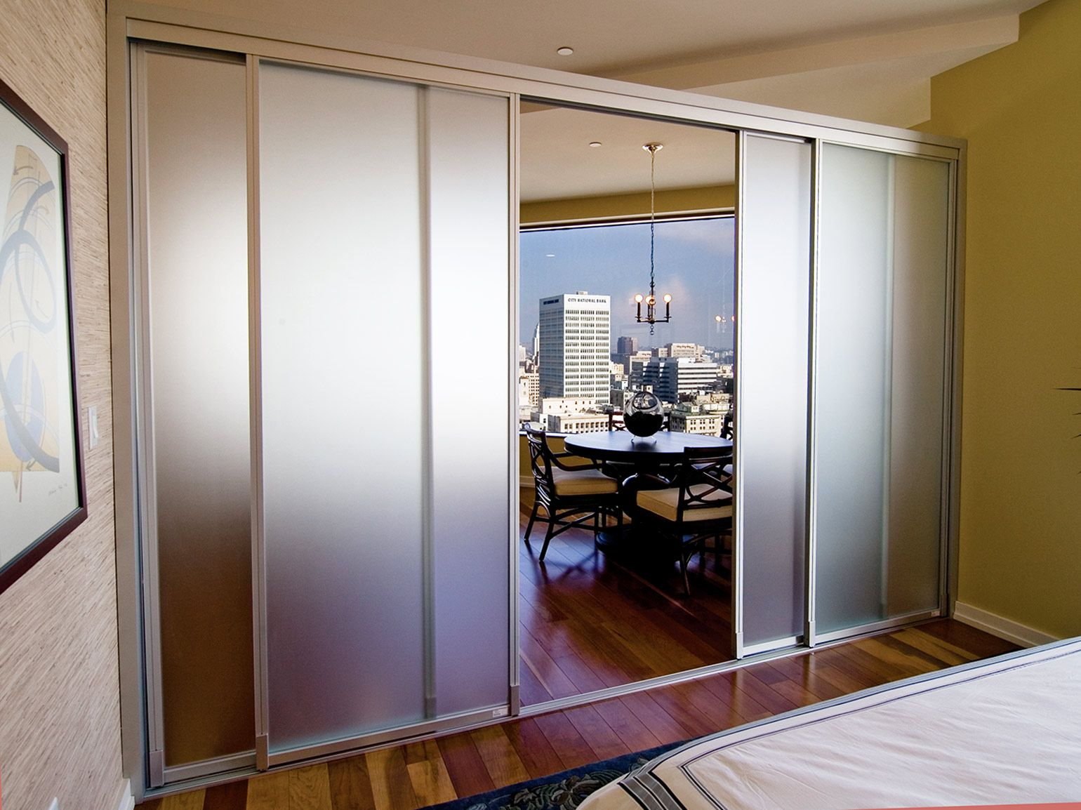 Glass room dividers w frosted glass the sliding door co for Sliding glass door room dividers