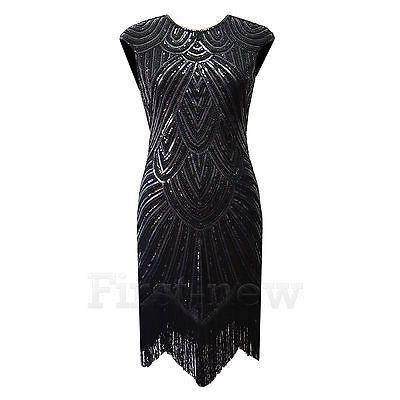 edfc32825 Vintage 1920 s Flapper Dress Great Gatsby Art Deco Sequins Fringed Party  Dresses
