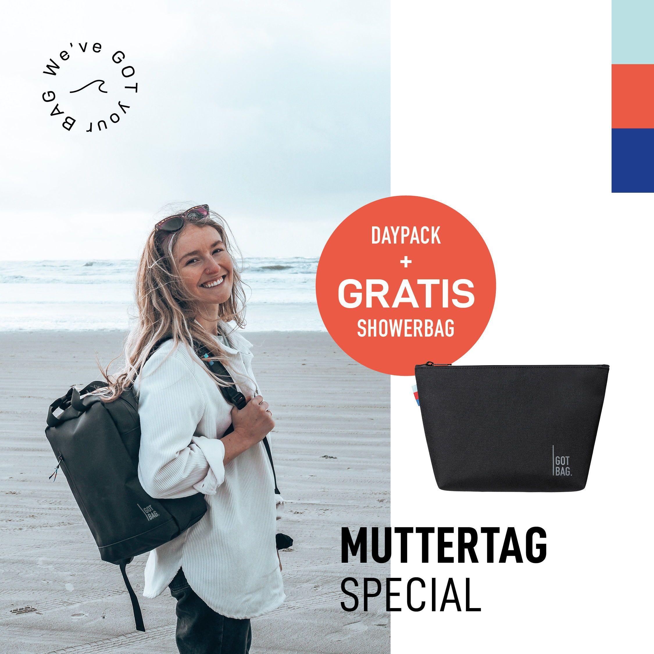 Daypack made of recycled ocean plastic by GOT BAG + FREE SHOWERBAG