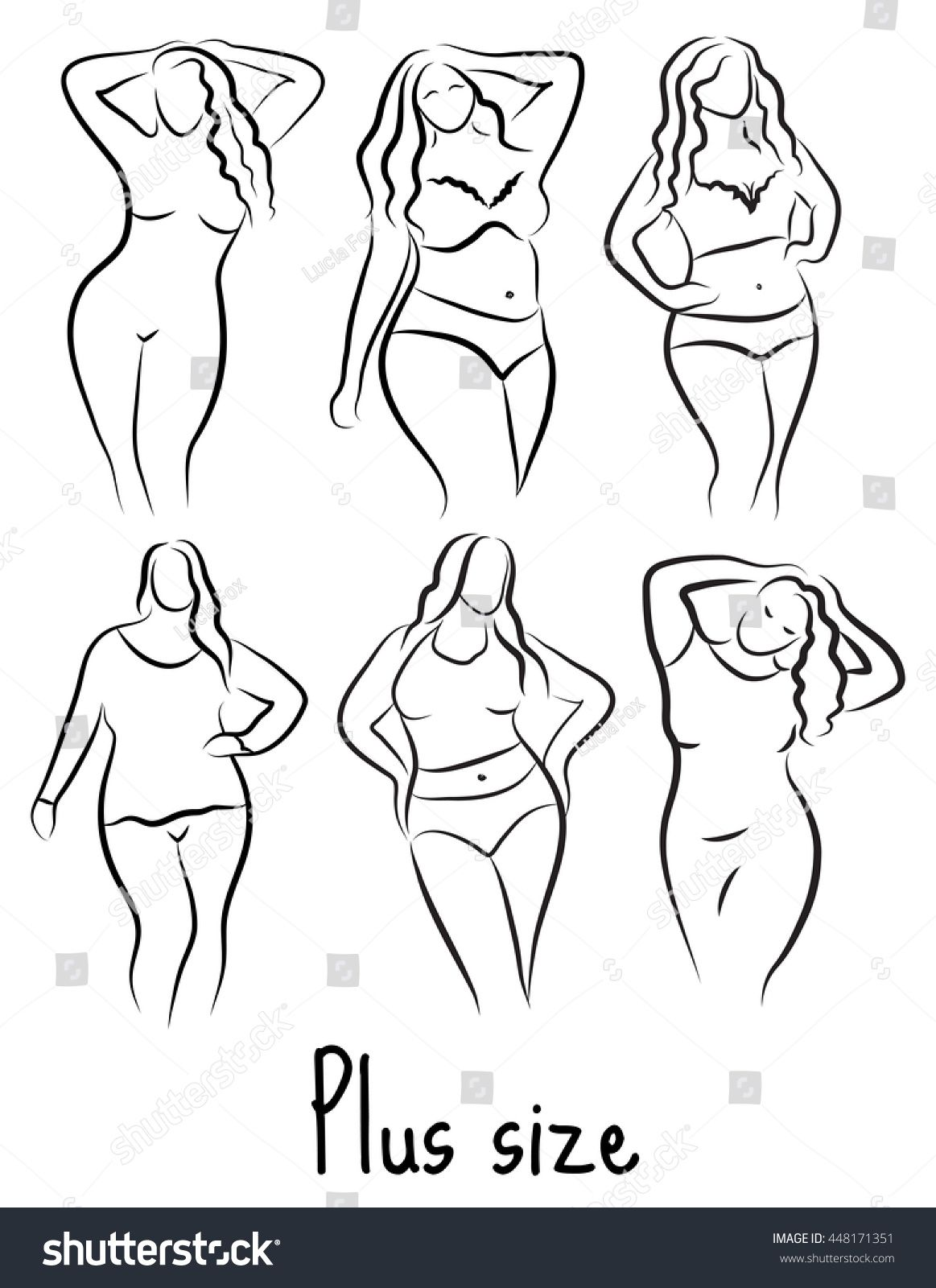 Photo of Set Girl Silhouette Sketch Plus Size Stock Vector (Royalty Free) 448171351