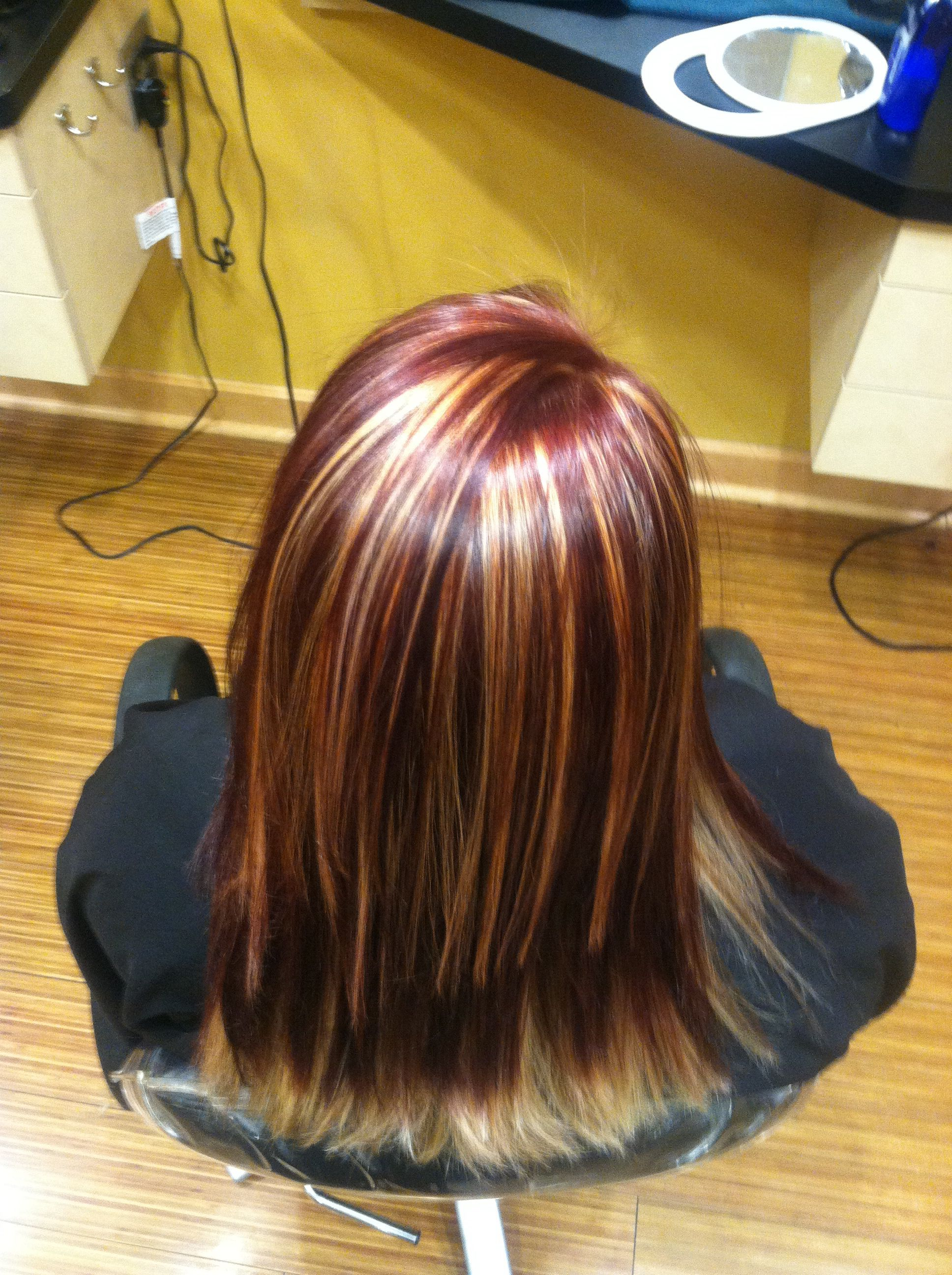 Red hair with blonde highlights   blonde highlights   red and ...