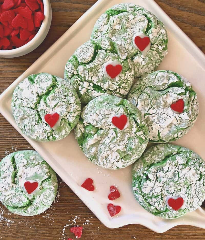 grinch cookies ~ overhead photo of green and white crinkle cookies with a small red heart #grinchcookies grinch cookies ~ overhead photo of green and white crinkle cookies with a small red heart #grinchcookies grinch cookies ~ overhead photo of green and white crinkle cookies with a small red heart #grinchcookies grinch cookies ~ overhead photo of green and white crinkle cookies with a small red heart #grinchcookies